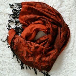 SANTI Orange/Black Roses Tassel Scarf